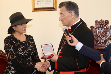 MARONITE PATRIARCH HONORS NDU'S DR. GUITA HOURANI