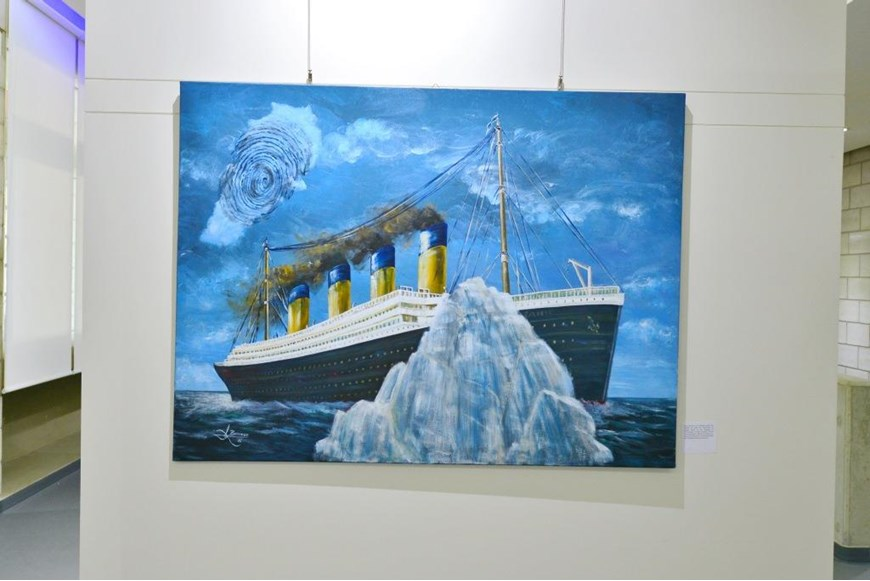 Inaugurating the Lebanese Aboard the Titanic Paintings into  the LERC LMM at NDU 1