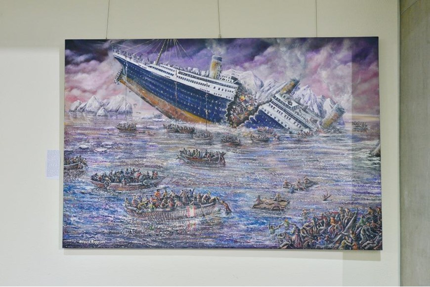Inaugurating the Lebanese Aboard the Titanic Paintings into  the LERC LMM at NDU 5