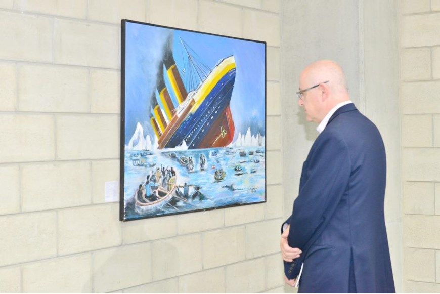 Inaugurating the Lebanese Aboard the Titanic Paintings into  the LERC LMM at NDU 43