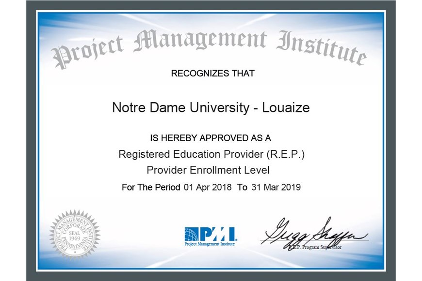 NDU Now Officially a PMI Representative 1